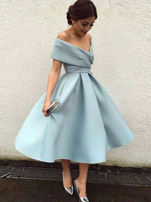 Bridelily A-Line Sleeveless Off-the-Shoulder Satin With Ruffles Tea-Length Dresses - Prom Dresses