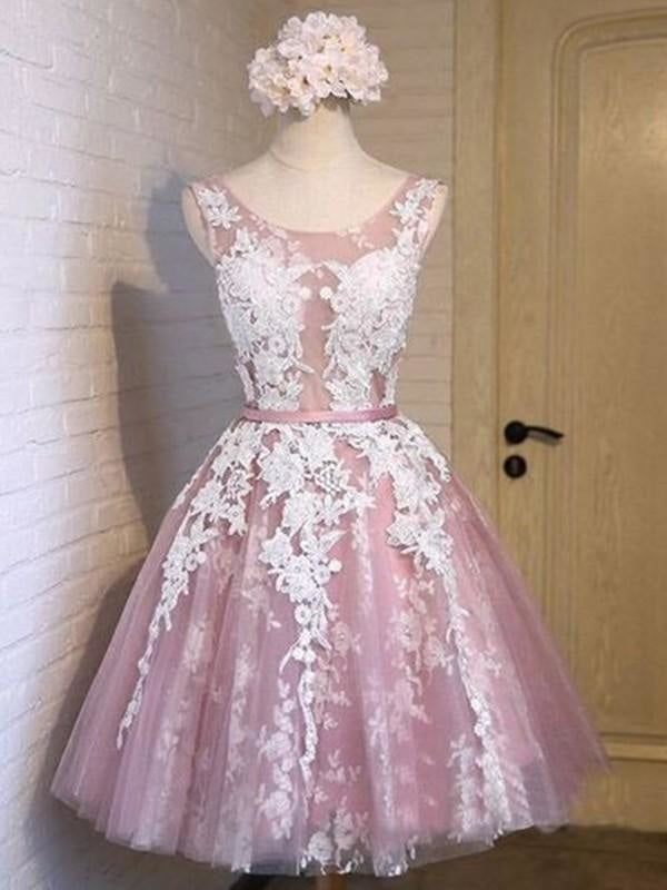 Bridelily A-Line Sleeveless Scoop Tulle With Applique Short/Mini Dresses - Prom Dresses