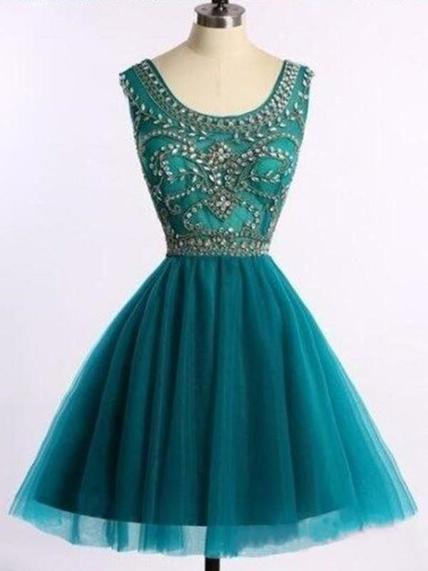 Bridelily A-Line Sleeveless Scoop Tulle With Beading Short/Mini Dresses - Prom Dresses