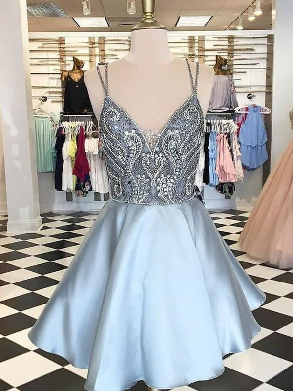 Bridelily A-Line Sleeveless Spaghetti Straps Satin With Beading Short/Mini Dresses - Prom Dresses