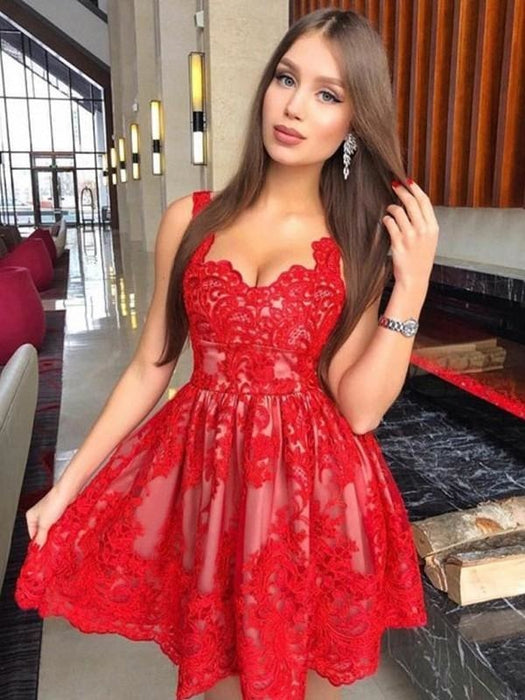 Bridelily A-Line Sleeveless Straps Lace With Applique Short/Mini Dresses - Prom Dresses