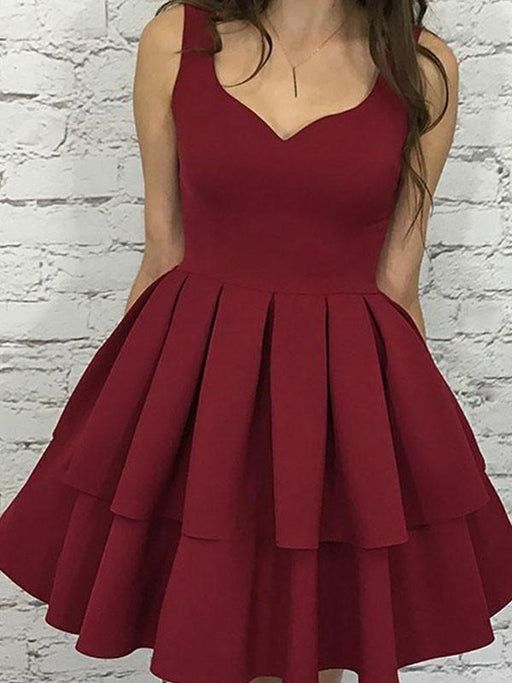 Bridelily A-Line Sleeveless Straps Satin With Layers Short/Mini Dresses - Prom Dresses