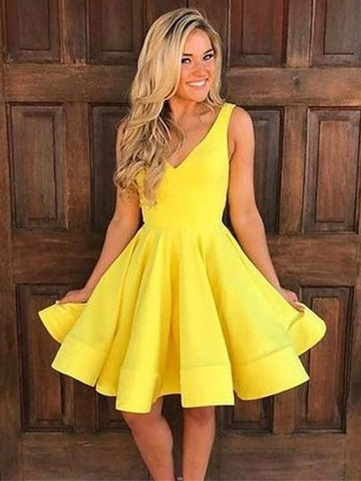 Bridelily A-Line Sleeveless Straps Satin With Ruffles Short/Mini Dresses - Prom Dresses