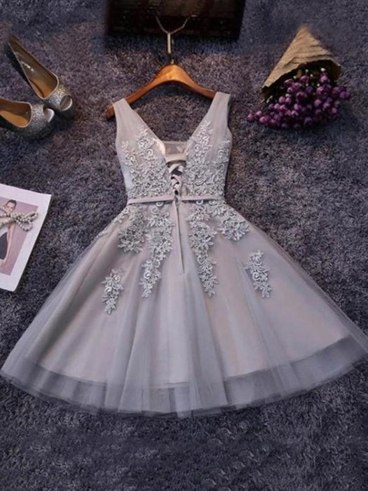 Bridelily A-Line Sleeveless Straps Tulle With Applique Short/Mini Dresses - Prom Dresses