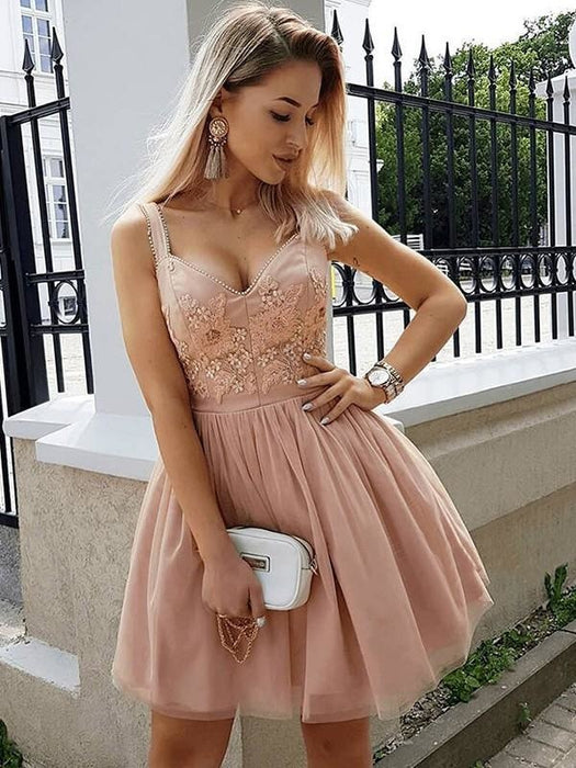 Bridelily A-Line Sleeveless Straps Tulle With Beading Short/Mini Dresses - Prom Dresses