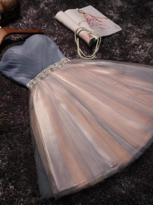 Bridelily A-Line Sleeveless Sweetheart Tulle With Beading Short/Mini Prom Dresses - Prom Dresses