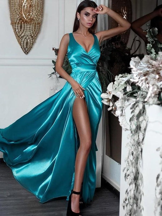 Bridelily A-Line Sleeveless V-Neck Floor-Length With Ruffles Dresses - Prom Dresses