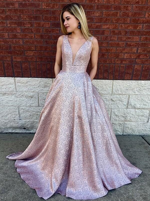 Plus Size V-neck High-Neck Sequined Glittering Satin Floral Print Long Sleeves Sleeveless Ball Gown Evening Dress/Prom Dress with a Brush/Sweep Train