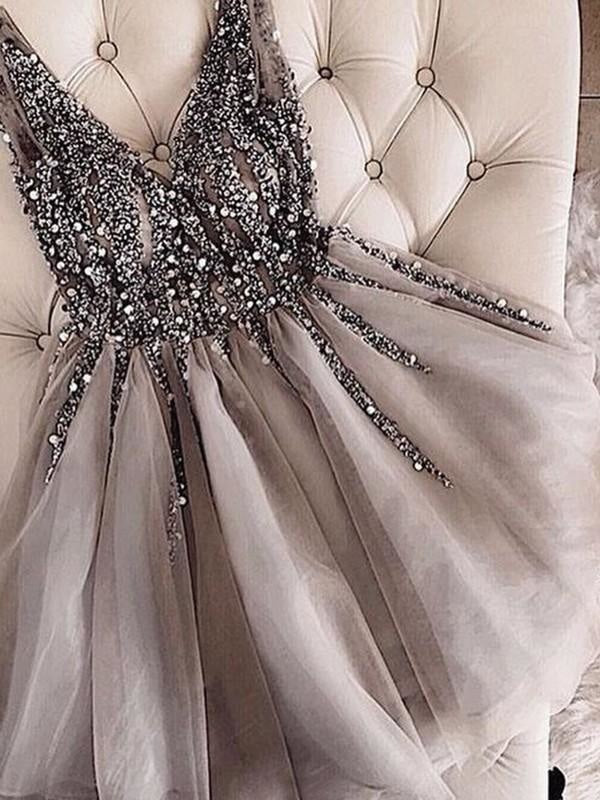 Bridelily A-Line Sleeveless V-neck Tulle With Sequin Short/Mini Dresses - Prom Dresses