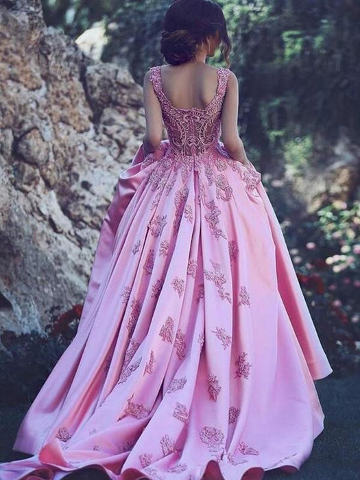 Bridelily A-Line Sweetheart Sleeveless Sweep/Brush Train With Applique Satin Dresses - Prom Dresses