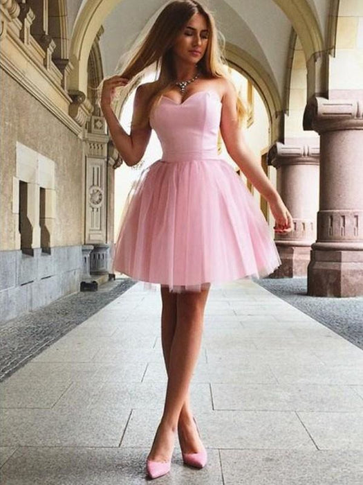 Bridelily A-Line Sweetheart With Ruffles Sleeveless Satin Short/Mini Dresses - Prom Dresses