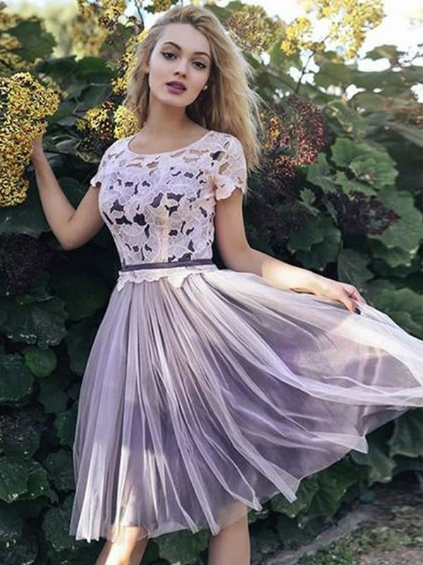 Bridelily A-Line Tulle Scoop Short/Mini Sleeves Sash/Ribbon/Belt Knee-Length Dresses - Prom Dresses