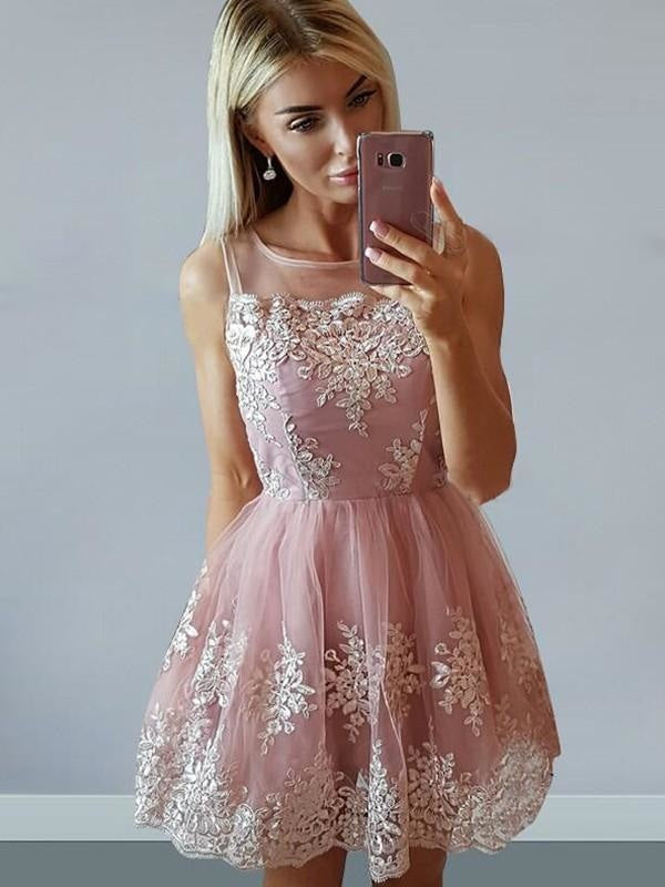 Bridelily A-Line Tulle Sleeveless Scoop With Applique Short/Mini Dresses - Prom Dresses