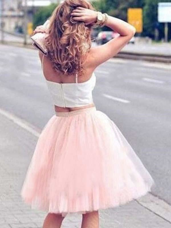 Bridelily A-Line Tulle Sleeveless With Pleats Spaghetti Straps Knee-Length Two Piece Dresses - Prom Dresses