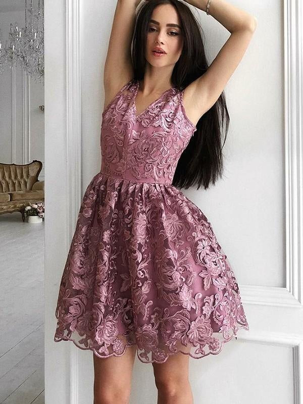 Bridelily A-Line V-Neck Sleeveless Organza With Ruched Short/Mini Dresses - Prom Dresses
