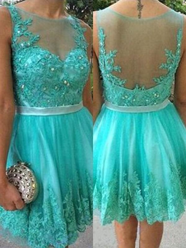 Bridelily A-Line With Applique Scoop Tulle Sleeveless Short/Mini Dresses - Prom Dresses