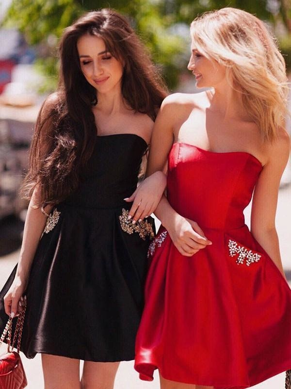 Bridelily A-Line With Ruched Strapless Satin Sleeveless Short/Mini dresses - Prom Dresses