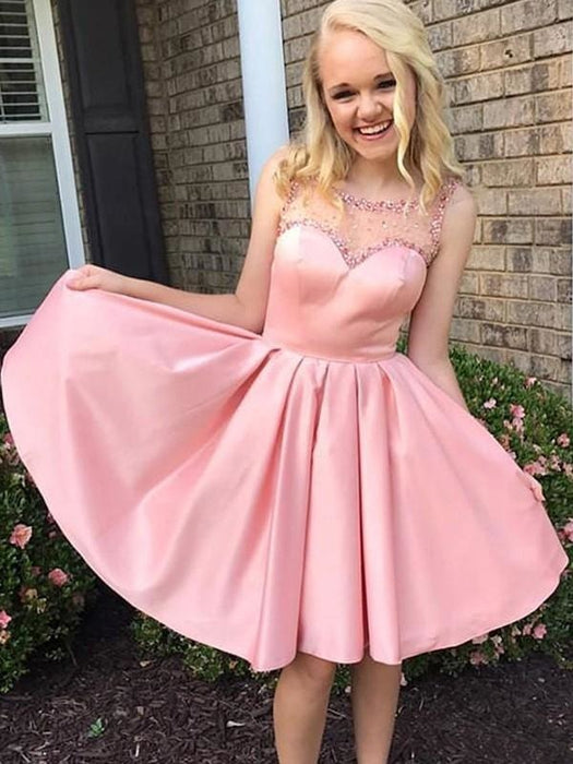 Bridelily A-Line With Ruffles Bateau Satin Sleeveless Knee-Length Dresses - Prom Dresses