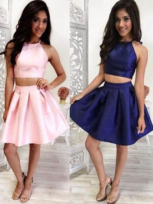 Bridelily A-Line With Ruffles Halter Satin Sleeveless Short/Mini Two Piece Dresses - Prom Dresses