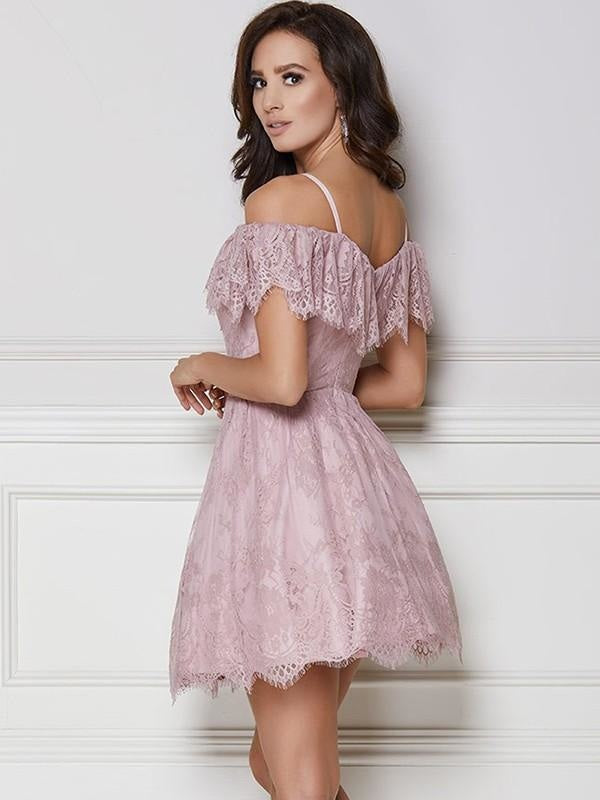 Petite Strapless Open-Back Fitted Pocketed Sleeveless Cocktail Short Tea Length Fit-and-Flare Mermaid Lace Ball Gown Prom Dress With Ruffles