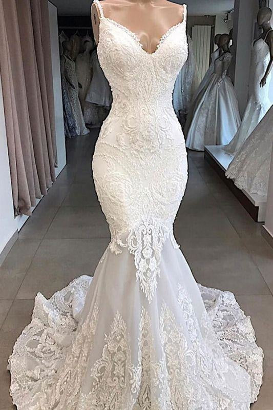 Bridelily Amazing Appliques Tulle Mermaid Wedding Dress - wedding dresses