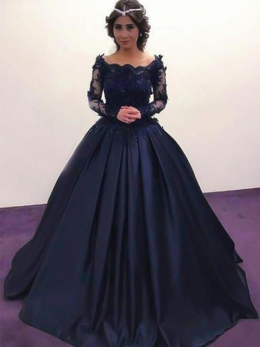 Bridelily Ball Gown Bateau Long Sleeves Sweep/Brush Train With Applique Satin Dresses - Prom Dresses