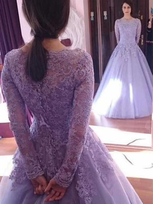 Bridelily Ball Gown Jewel Long Sleeves Floor-Length Lace Tulle Dresses - Prom Dresses