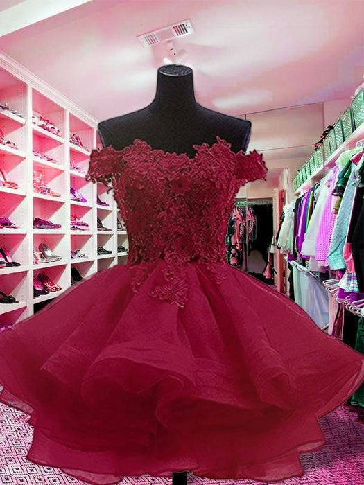 Bridelily Ball Gown Off-the-Shoulder Sleeveless Short/Mini With Applique Organza Dresses - Prom Dresses