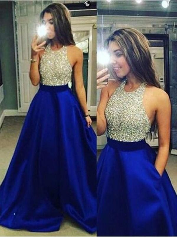 Plus Size Crystal Backless Jeweled Satin Long Sleeves One Shoulder Sleeveless Ball Gown Prom Dress