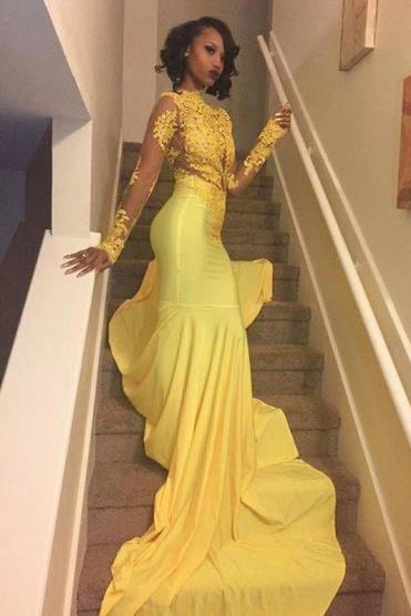 Bridelily Beautiful High-Neck Yellow Long-Sleeve Lace Appliques Mermaid Prom Dress - Prom Dresses