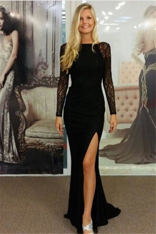 Bridelily Black Bateau Spandex Evening Dresses Backless Long Sleeves 2019 Prom Dresses - Prom Dresses