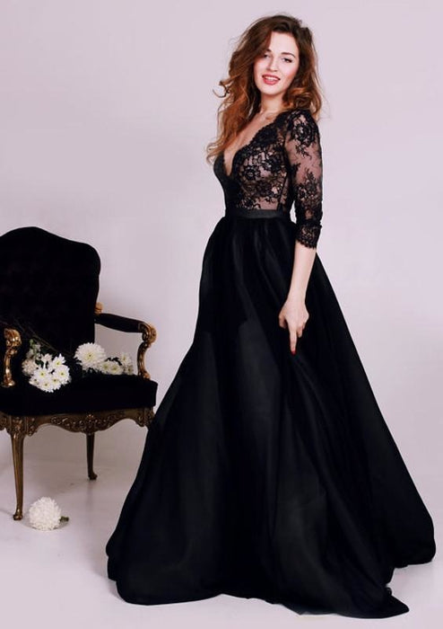 Bridelily Black Deep V-Neck Lace Formal Occasion Dress Gorgeous A-Line 3/4 Long Sleeve Evening Gown JT127 - Prom Dresses
