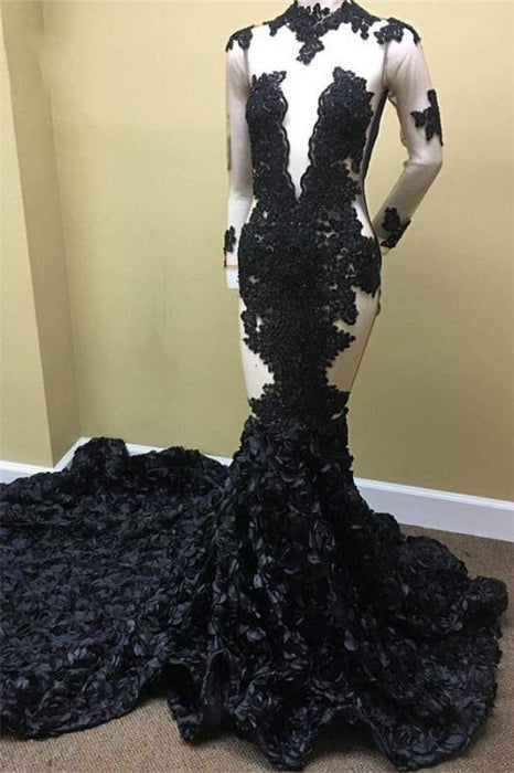 Bridelily Black Lace Appliques Long Sleeves Prom Dresses - Prom Dresses