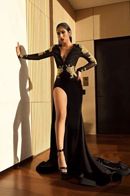 Bridelily Black Long Sleeve Prom Dress | 2019 Gold Appliques Mermaid Evening Dress - Prom Dresses