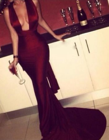 Bridelily Burgundy 2019 Mermaid Prom Dresses Sexy Cross Back Cheap Evening Gowns - Prom Dresses