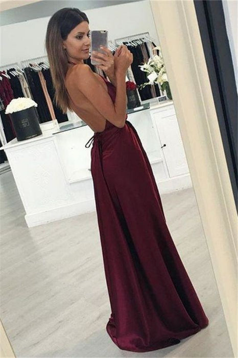 Bridelily Burgundy Halter-V-Neck Backless A-line Side-Slit Prom Dresses - Prom Dresses