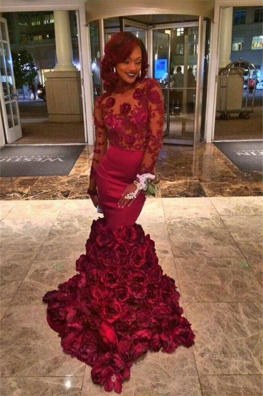 Bridelily Burgundy Lace-Appliques Long-Sleeves Flowers-Train Mermaid Prom Dresses - Prom Dresses