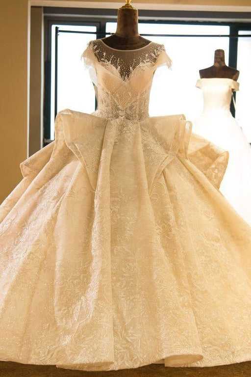 Bridelily Cap Sleeve Appliques Tulle A-line Wedding Dress - wedding dresses