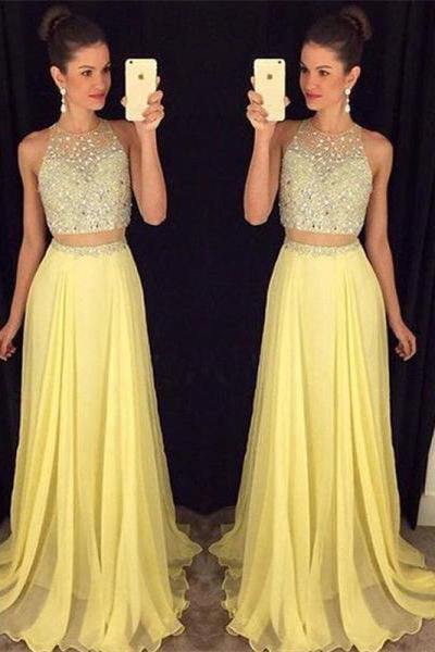 Bridelily Cute Two Piece Major Beading Prom Dess New Arrival Chiffon Formal Occasion Dresses GA017 - Prom Dresses