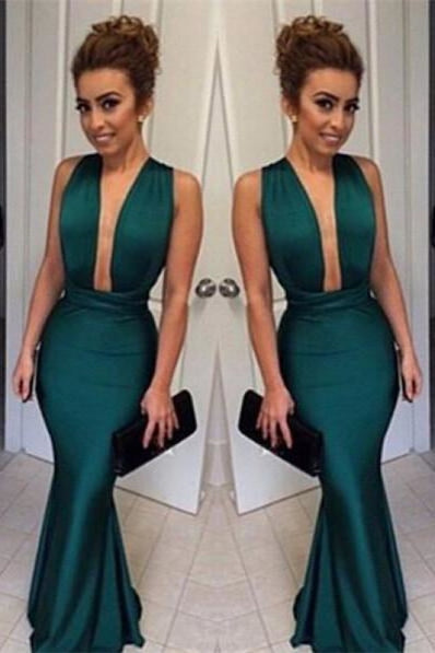 Bridelily Dark Green Mermaid Prom Dresses 2019 Deep V Neck Long Sexy Evening Gowns - Prom Dresses