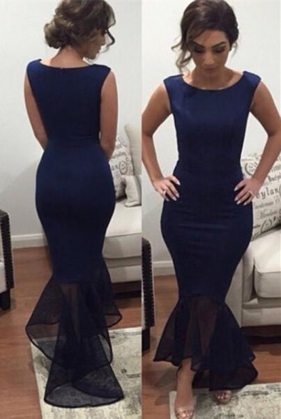 Bridelily Dark Navy Sexy Mermaid Evening Dress Cheap Simple Floor Length Formal Occasion Dress - Prom Dresses
