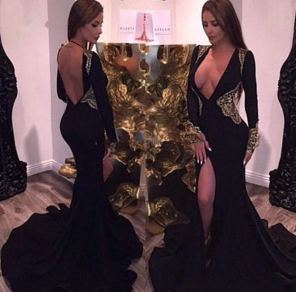 Bridelily Deep V-neck Sexy Black Evening Dresses Gold Lace 2019 Party Dresses with Slit CE086 - Prom Dresses
