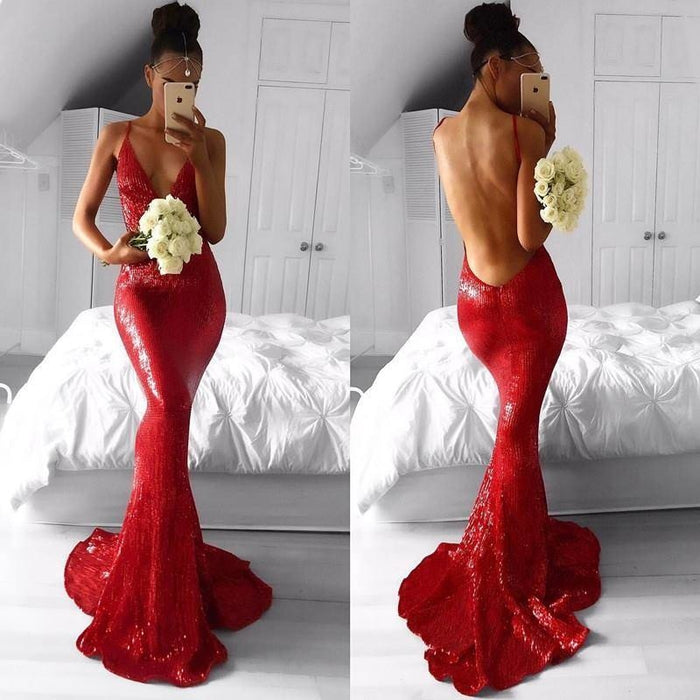 Bridelily Deep V-neck Spaghetti Backless Sequins Floor-length Mermaid Prom Dresses - Prom Dresses