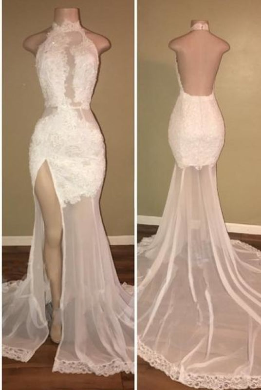 Backless Sequined Vintage High-Neck Long Sleeves Mermaid Lace Evening Dress/Prom Dress