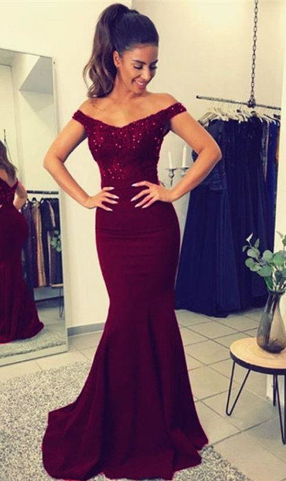 Bridelily Elegant Off-the-Shoulder Mermaid Lace Beadings Long Evening Dress - Prom Dresses