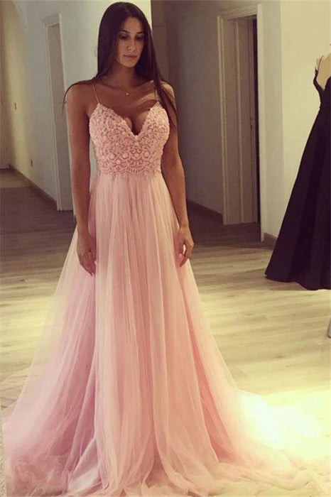Bridelily Elegant Pink A-line Evening Gowns | Spaghettis Straps Tulle Prom Dresses - Prom Dresses