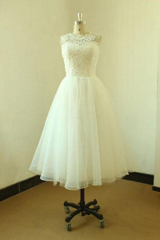 Bridelily Elegent Lace Tulle A-line Mini Wedding Dress - wedding dresses