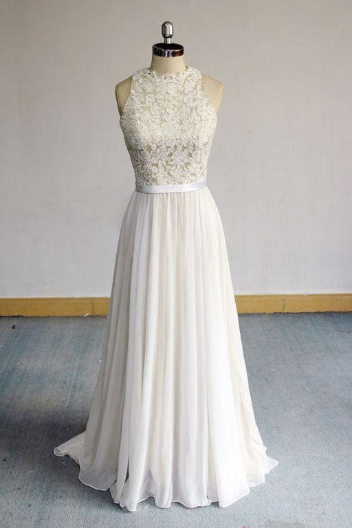 Bridelily Eye-catching Lace Chiffon A-line Wedding Dress - wedding dresses