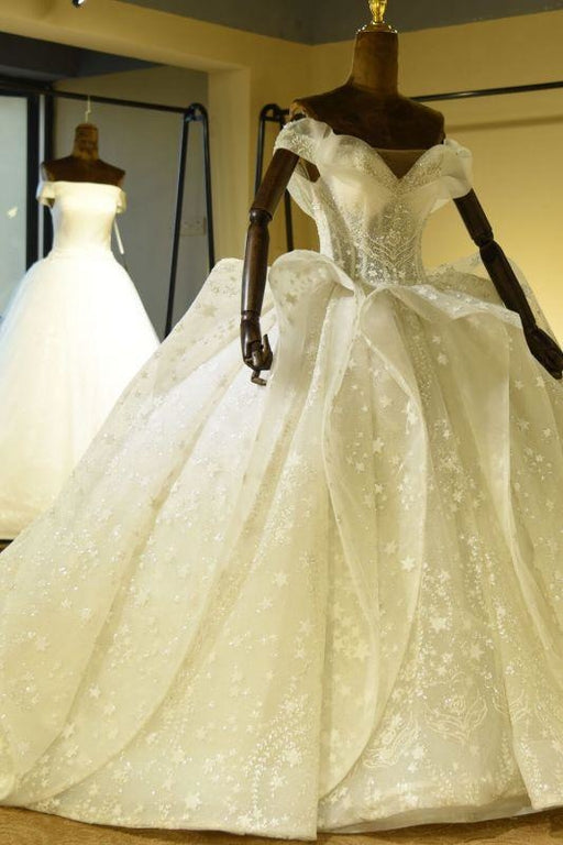 Bridelily Eye-catching Lace-up Tulle Ball Gown Wedding Dress - wedding dresses