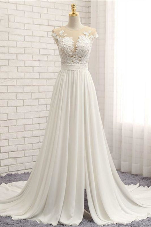 Bridelily Front Slit Appliques Chiffon A-line Wedding Dress - wedding dresses